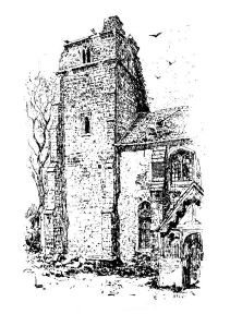 Peldon Church1884 showing earthquake damage