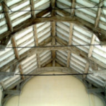 Oak hammerbeam trusses to nave roof, undoubtedly the finest feature of the church