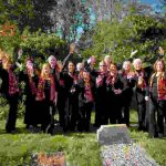 Members of Quire outside St Marys. They are to sing at 'All Together Now!' on August 7th.
